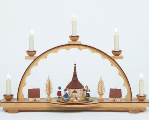 Elektrischer Schwibbogen 5 Kerzen mit Laufscheibe